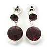 Small Deep Purple Crystal Drop Earrings In Silver Tone - 20mm L