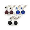 Small Sapphire Blue/ Black/ Deep Purple Crystal Drop Earrings In Silver Tone - 20mm L