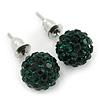 10mm Emerald Green Crystal Ball Stud Earrings In Silver Tone