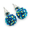 10mm Chameleon Blue Crystal Ball Stud Earrings In Silver Tone