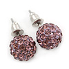 10mm Amethyst Crystal Ball Stud Earrings In Silver Tone
