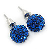 10mm Sapphire Blue Crystal Ball Stud Earrings In Silver Tone