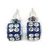 Blue Enamel, Clear Crystal Dice Earrings In Silver Tone Metal - 7mm Diameter