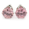 Pink CZ Round Cut Stud Earrings In Rhodium Plating - 8mm