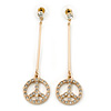 Gold Plated Clear Crystal 'Peace' Drop Earrings - 65mm Length