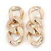 Oversized Gold Tone Acrylic Link Drop Earrings - 85mm L