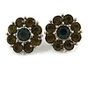 Olive Green Crystal 'Flower' Stud Earrings In Rhodium Plating - 20mm D