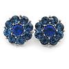 Blue Crystal 'Flower' Stud Earrings In Rhodium Plating - 20mm D