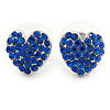 Sapphire Blue Crystal Heart Stud Earrings In Silver Tone - 12mm L
