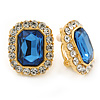 Gold Tone Clear, Blue Crystal Square Clip On Earrings - 23mm L