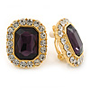 Gold Tone Clear, Purple Crystal Square Clip On Earrings - 23mm L