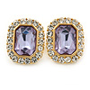 Gold Tone Clear, Lavender Crystal Square Stud Earrings - 23mm L