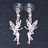 Pink Crystal Fairy Drop Earrings In Rhodium Plating - 45mm L