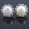10mm White Freshwater Pearl, Crystal Stud Earrings In Rhodium Plating - 16mm Across