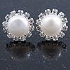 10mm White Freshwater Pearl, Crystal Stud Earrings In Rhodium Plating - 16mm Across