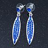 Sapphire Blue Austrian Crystal Leaf Drop Earrings In Rhodium Plating - 50mm L