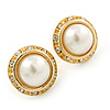 Bridal/ Prom/ Wedding White Simulated Pearl Crystal Button Stud Earrings In Gold Tone - 15mm Diameter