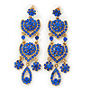 Divine Extravagance Sapphire Blue Austrian Crystal Chandelier Earrings In Gold Tone - 80mm L