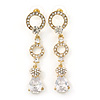 Bridal/ Prom/ Wedding Clear Cz Chandelier Drop Earring In Gold Plating - 65mm L