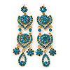 Divine Extravagance Teal Austrian Crystal Chandelier Earrings In Gold Tone - 80mm L