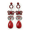 Long Vintage Inspired Red Crystal Bow, Teardrop Earrings In Antique Silver Tone - 85mm L