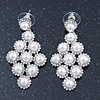 Bridal/ Wedding/ Prom White Glass Pearl, Crystal Diamond Shape Drop Earrings In Rhodium Plating - 50mm L