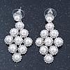 Bridal/ Wedding/ Prom White Glass Pearl, Crystal Diamond Shape Drop Earrings In Rhodium Plating - 50mm L