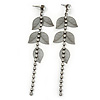 Long Crystal, Filigree Leaf Dangle Earrings In Black Tone - 11.5cm L