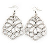 Silver Tone, Crystal Filigree Leaf Drop Earrings - 70mm L