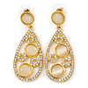 Bridal/ Wedding/ Prom Crystal Teardrop Earrings In Gold Tone - 53mm L
