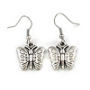 Vintage Inspired Etched Butterfly Drop Earrings In Pewter Tone - 33mm L