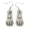 Vintage Inspired Etched Hare Drop Earrings In Silver Tone - 40mm L