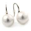 12mm Bridal/ Wedding Lustrous White Round Pearl Style Earrings In Silver Tone - 24mm L