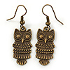 Bronze Tone Owl Drop Earrings - 40mm L