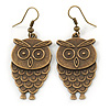 Bronze Tone Owl Drop Earrings - 50mm L