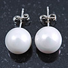 10mm White Round Glass Pearl Stud Earrings 925 Sterling Silver