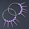 Oversized Slim Purple Spikes, Disko Balls Hoop Earrings In Silver Tone - 10cm L