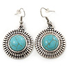 Vintage Inspired Round, Hammered Turquoise Drop Earrings In Antique Silver Tone - 45mm L