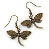 Bronze Tone Dragonfly Drop Earrings - 35mm L