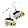 Funky Multicoloured 'School Bus' Drop Earrings In Silver Tone - 35mm L