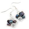 Peacock Freshwater Pearl, Clear Crystal Cluster Drop Earrings In Silver Tone - 40mm L