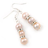 8mm Bridal/ Prom Delicate Pale Pink Freshwater Pearl With Crystal Ring Drop Earrings In Silver Tone - 45mm L