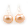 7mm Cream Off-Round Cultured Freshwater Pearl Stud Earrings In Silver Tone