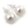7mm White Off-Round Cultured Freshwater Pearl Stud Earrings In Silver Tone