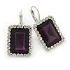 Deep Purple/ Clear CZ Square Drop Earrings With Leverback Closure In Rhodium Plating - 35mm L