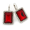 Ruby Red/ Clear CZ Square Drop Earrings With Leverback Closure In Rhodium Plating - 35mm L