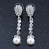 Bridal/ Wedding/ Prom Silver Tone Clear Crystal, 9mm Simulated Pearl Flower Linear Earrings - 50mm L