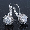 Classic Clear CZ Round Drop Earrings With Leverback Closure In Rhodium Plating - 23mm L