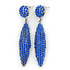 Sapphire Blue Austrian Crystal Leaf Drop Earrings In Rhodium Plating - 65mm L