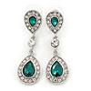 Bridal/ Wedding/ Prom Emerald Green/ Clear CZ Teardrop Earrings In Rhodium Plating - 50mm L